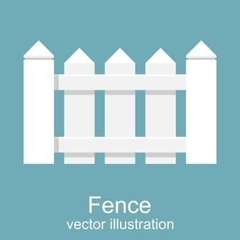 Белый деревянный забор. пикет белый изолированный. плоский дизайн.