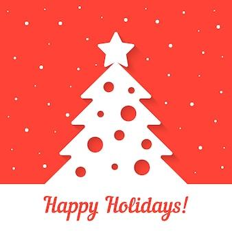 赤い背景の上の白いクリスマスツリー。クリスマスパーティーカード、クリスマスの装飾、クリスマスツリー、クリスマスの背景、降雪、クリスマスカードの概念。フラットスタイルトレンドモダンなデザインのベクトル図