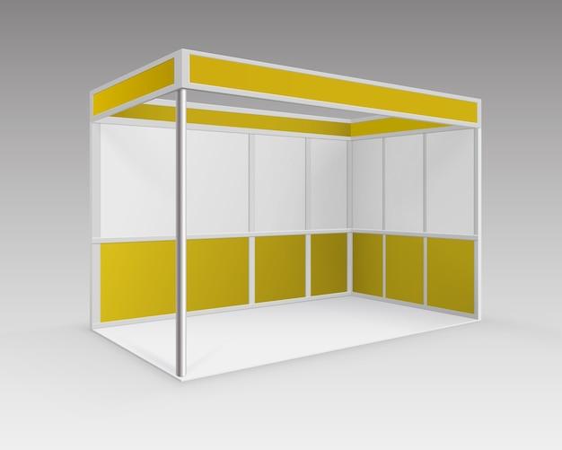 흰색 노란색 빈 실내 무역 전시회 부스 배경에 고립 된 관점에서 프리젠 테이션을위한 표준 스탠드