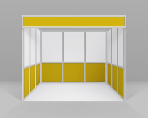 White yellow blank indoor trade exhibition booth standard stand for presentation isolated