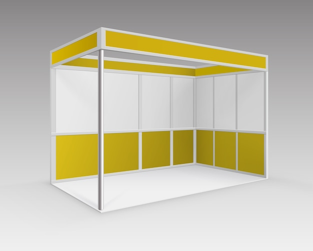 White yellow blank indoor trade exhibition booth standard stand for presentation in perspective isolated on background