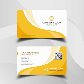 White and yellow business card template