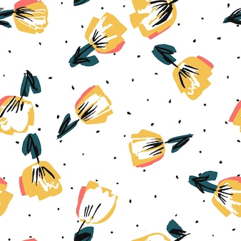 White and yellow rose drawn vector seamless pattern. lotus wedding paper texture. summer marker design. tulip abstract background.