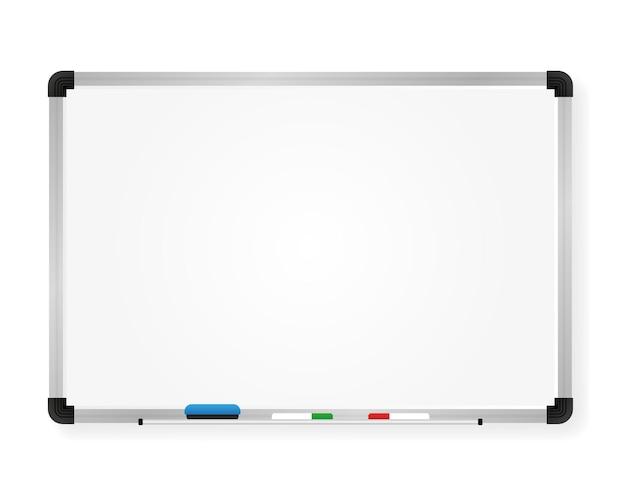 Доска для маркеров. презентация, пустой экран. офисный и учебный инструмент, изолированные на белом фоне. векторная иллюстрация.