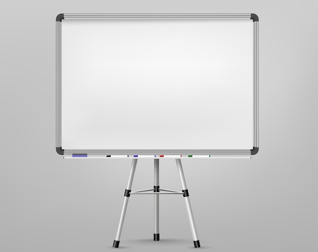 Whiteboard for markers on tripod. empty projection screen, presentation board, blank white board for conference. office board background frame. vector