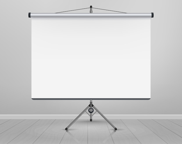 Whiteboard for markers on wooden floor. presentation, empty projection screen. office board background frame