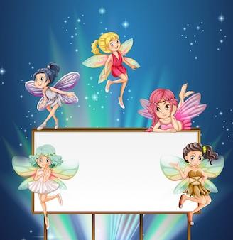 妖精たちが飛び回るホワイトボードのテンプレート