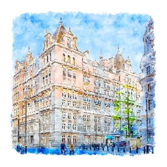 Whitehall london watercolor hand drawn illustration