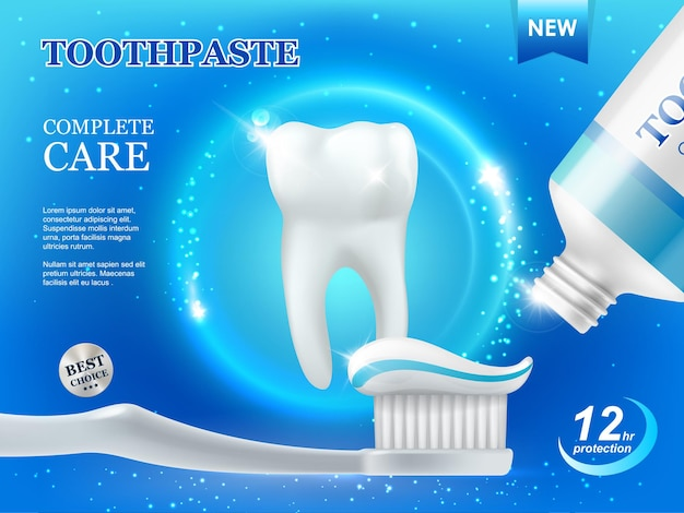 Whitening toothpaste and brush, dental care, teeth cleaning vector ad poster with white healthy tooth and tube with paste on blue background with glow sparkles. plaque protection and repair product