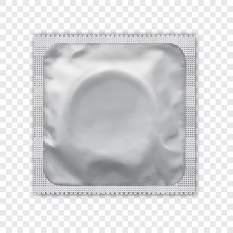 Whiterealistic foil package for condom.