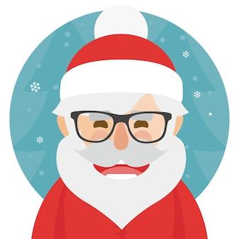 ヒップスターサンタクロースwhith眼鏡文字のイラスト。メリークリスマス