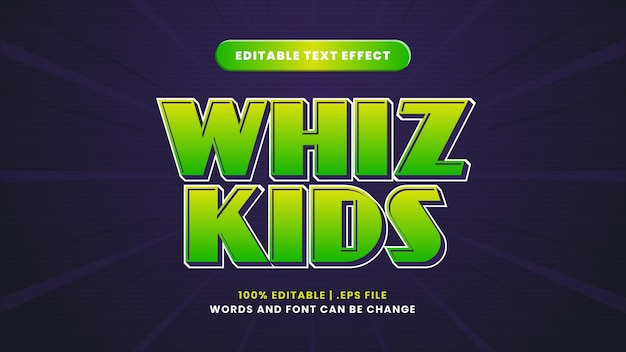 Whiz kids editable text effect in modern 3d style