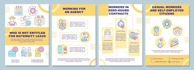 Who is not entitled for maternity leave brochure template. flyer, booklet, leaflet print, cover design with linear icons. vector layouts for presentation, annual reports, advertisement pages