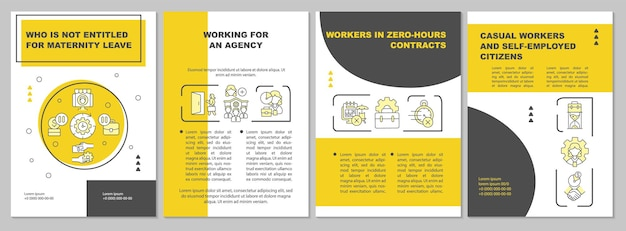 Who is not entitled for maternity leave yellow brochure template. flyer, booklet, leaflet print, cover design with linear icons. vector layouts for presentation, annual reports, advertisement pages