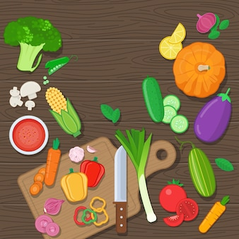 木製の背景に丸ごと刻んだ野菜ベクトル図