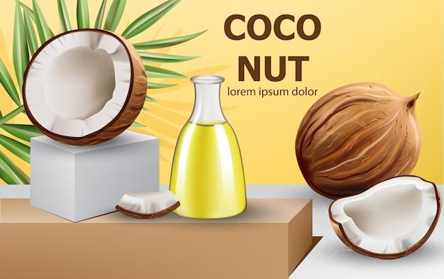 Целые и треснувшие кокосы с листом монстеры и графин с маслом на подиуме. реалистично. . место для текста