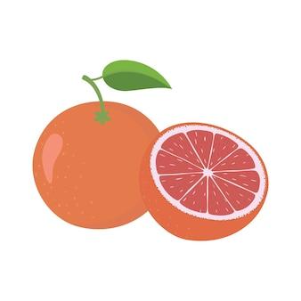 全体と半分の皮をむいていない熟したピンクグレープフルーツ