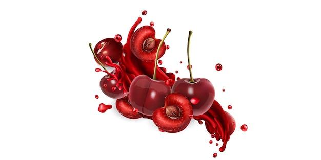 Целые и нарезанные вишни и всплеск фруктового сока на белом фоне. реалистичная иллюстрация.