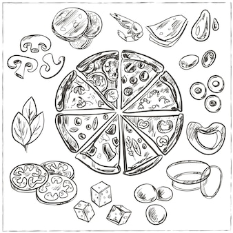 Эскизы цельной и нарезанной итальянской пиццы с различными начинками, такими как сыр, пепперони, салями, грибы, помидоры, оливки