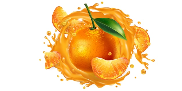 Целые и нарезанные мандарины в брызгах сока.