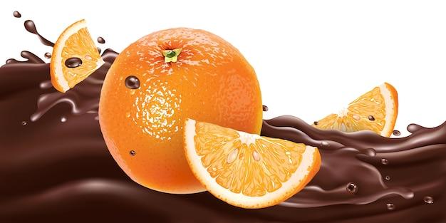 Целые и нарезанные апельсины на шоколадной волне.