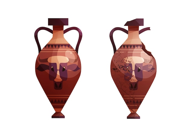 Whole and broken ancient vase with decoration ceramic archaeological pot