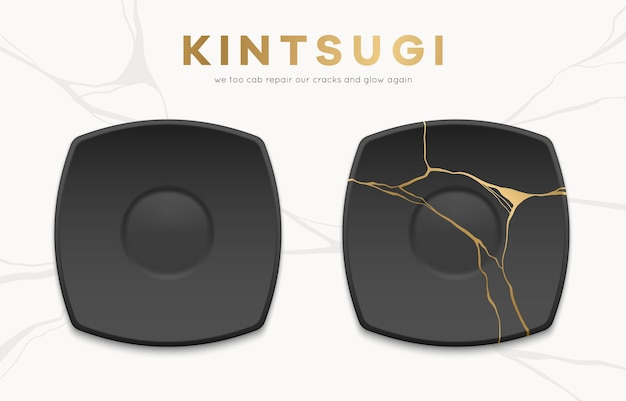 Whole and broken black plates with gold kintsugi cracks