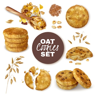 Whole and broken oatmeal cookies decorated with ears of oats realistic set isolated  illustration