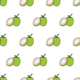 Весь кокос и половина кокоса бесшовные модели на белом фоне. кокосовая тема векторные иллюстрации