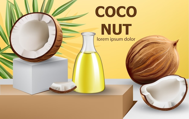 Whole and cracked open coconuts with monstera leaf and a carafe with oil on podium. realistic. . place for text