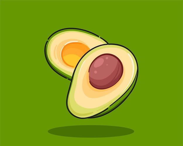 Whole and cut avocado hand drawn cartoon art illustration