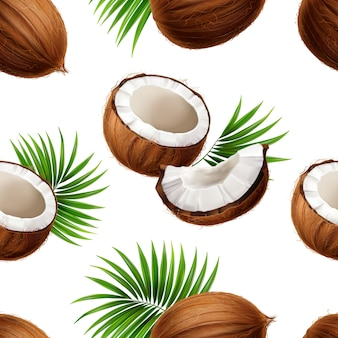 Whole and cut coconuts with palm frond leaves strewn on white background realistic seamless pattern