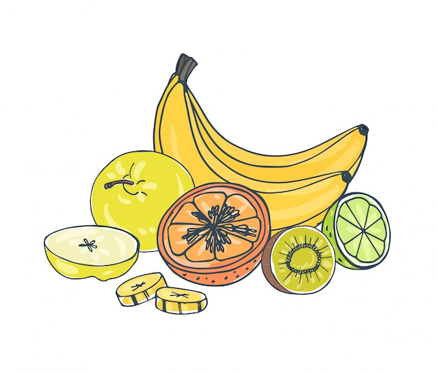 Whole and cut exotic juicy fruits lying together  on white background - apple, banana, kiwi, orange, lime.