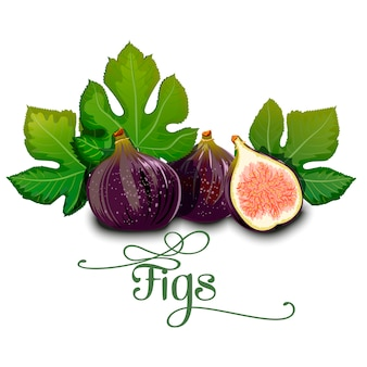Whole figs with slice and leaf