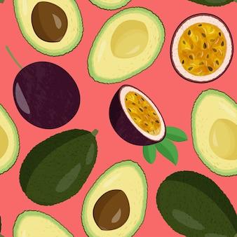 全体的に新鮮なアボカドと半分とパッションフルーツのシームレスなパターン。エキゾチックな食事の背景。