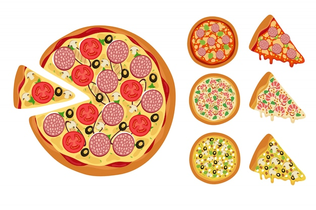 Whole hot pizza slices vector set isolated on white