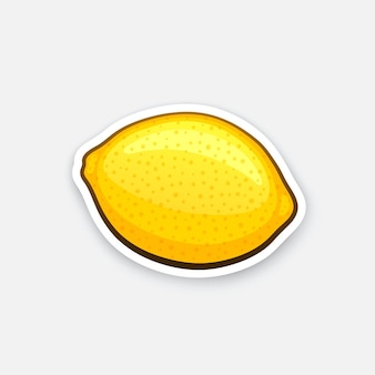 輪郭のベクトル図と漫画のスタイルでレモン全体の健康的なベジタリアン料理のステッカー