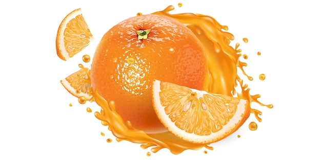 オレンジ全体とジュースのスプラッシュのスライス。