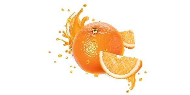 全体のオレンジとフルーツジュースのスライスが跳ねます。