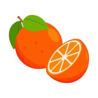 Целый апельсин с листьями, половинкой и долькой.
