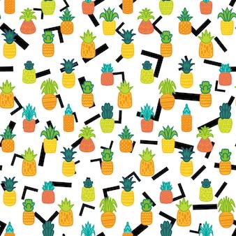 전체 파인애플 벡터 완벽 한 패턴입니다. 여름 수분이 많은 과일, 열대 벽지, 멤피스 배경의 섬유 디자인