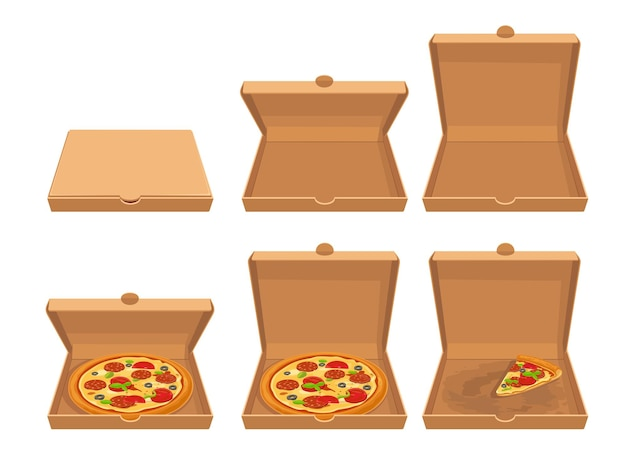 Целая пицца и кусочки пиццы в закрытой и открытой коричневой картонной упаковке. установить вектор плоский значок