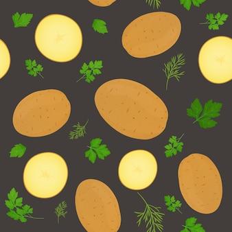 全体のジャガイモと暗い背景に分離されたジャガイモのスライス。パセリの葉で皮をむいたジャガイモ塊茎。図。シームレスパターン。