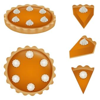 Весь тыквенный пирог и части пирога иллюстрации. вид сверху и сбоку.