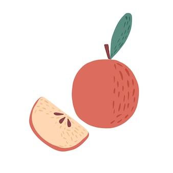 흰색 배경에 고립 된 조각으로 전체 빨간 사과. 낙서 스타일 벡터 일러스트 레이 션에 그려진 애플 손입니다.