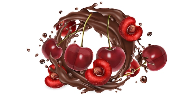 Whole and sliced cherries in a chocolate splash.