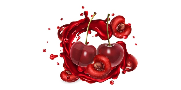 Whole and sliced cherries in fruit juice splashes on a white background.