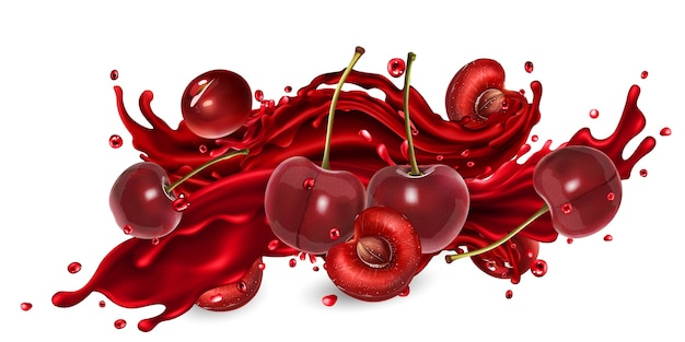 Whole and sliced cherries and a splash of red fruit juice on a white background.