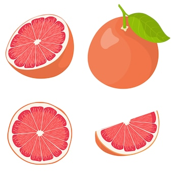 Whole and sliced grapefruit.