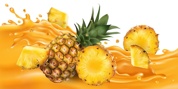 Whole and sliced pineapple on a fruit juice wave.